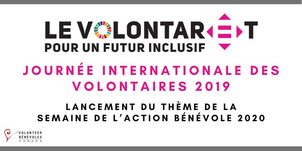 Journée internationale des volontaires 2019 : lancement du thème pour l'édition de 2020 de la Semaine de l'action bénévole